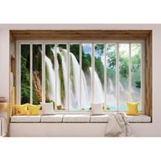 Fototapete no. 3434 | Vlies | Wald Tapete Wasserfall, See, Laubwald, Felsen, Motiv 3434