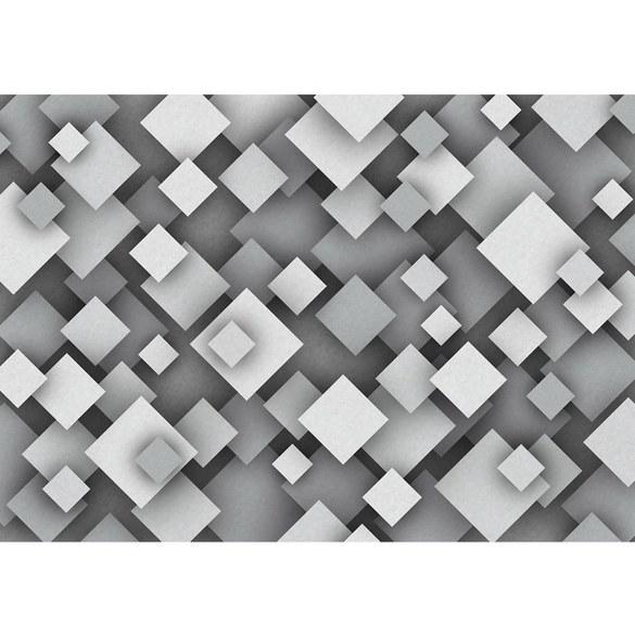 Non-woven Mural no. 3454   Texturen Tapete Vierecke, Retro, Vintage schwarz - weiß Motiv