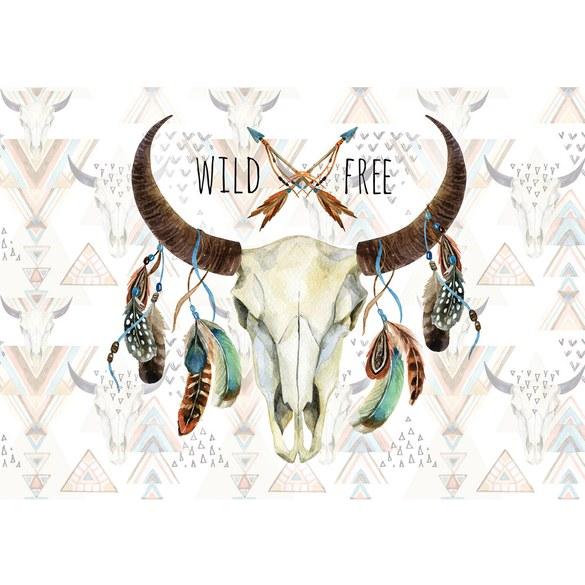 Mural no. 3488 | Non-woven or Paper | illustrations wallpaper skull buffalo