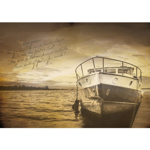 Mural no. 3520 | Non-woven or Paper | sea wallpaper lake boat dock poem