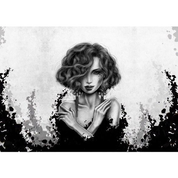 Fototapete no. 3554 | Vlies | Kunst Tapete Comic Art, Frau, Mädchen schwarz Motiv 3554