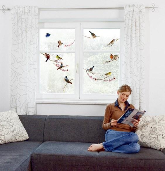 1-6003 Vögel Fenstersticker – Bild 3