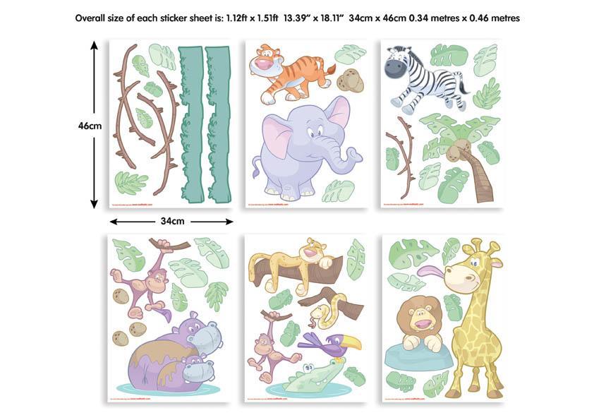 DW-41059 Wandtattoo Kinderzimmer - Baby Dschungel Wandtattoo - Tapeto