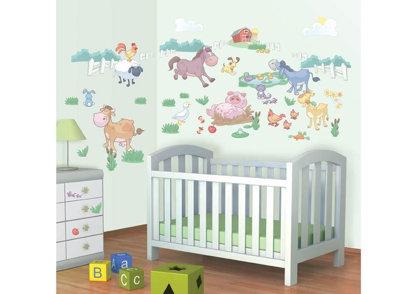 dw 41066 wandtattoo kinderzimmer baby bauernhof. Black Bedroom Furniture Sets. Home Design Ideas