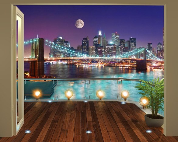 DD-362 Brooklyn Bridge bei Nacht Fototapete
