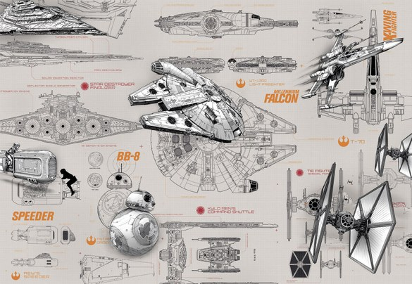 APH-493 Star Wars - Technische Zeichnung Fototapete