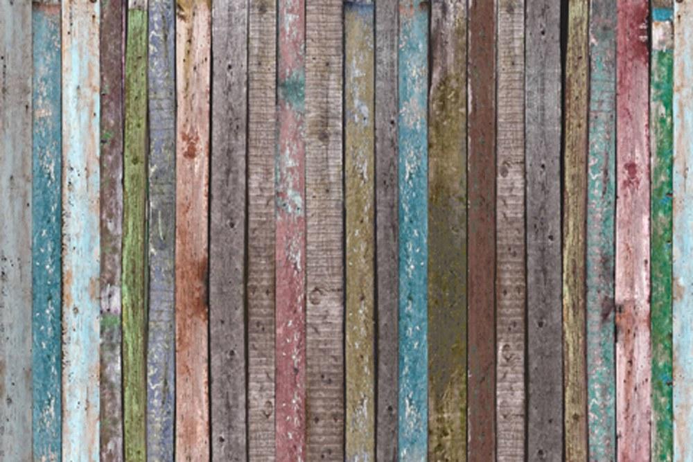 0367-1 Wandbild - Motiv: Farbenfrohe Holzwand