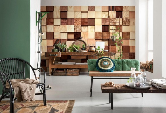 APH-978 Wooden cubes mural