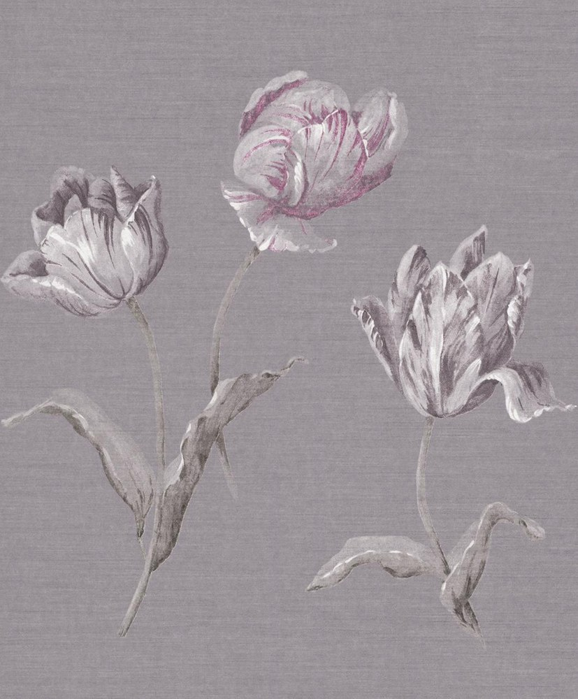 AR Blumentapete Yasmine Steingrau