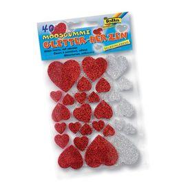 Moosgummi Glitter-Sticker, Herzen