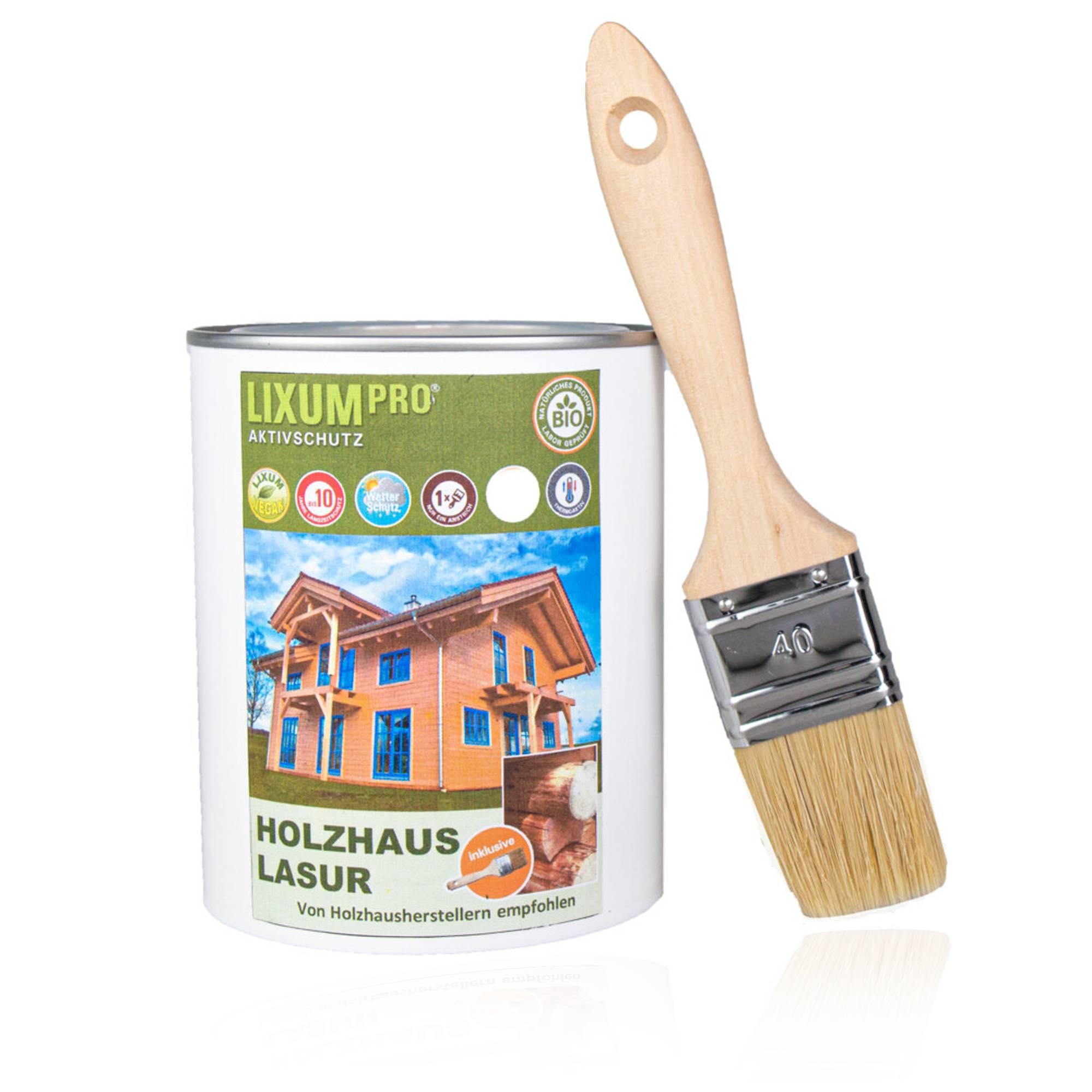 LIXUM 100% Biologische Holzhaus & Blockhaus Lasur - Wetterschutz für Holzhäuser