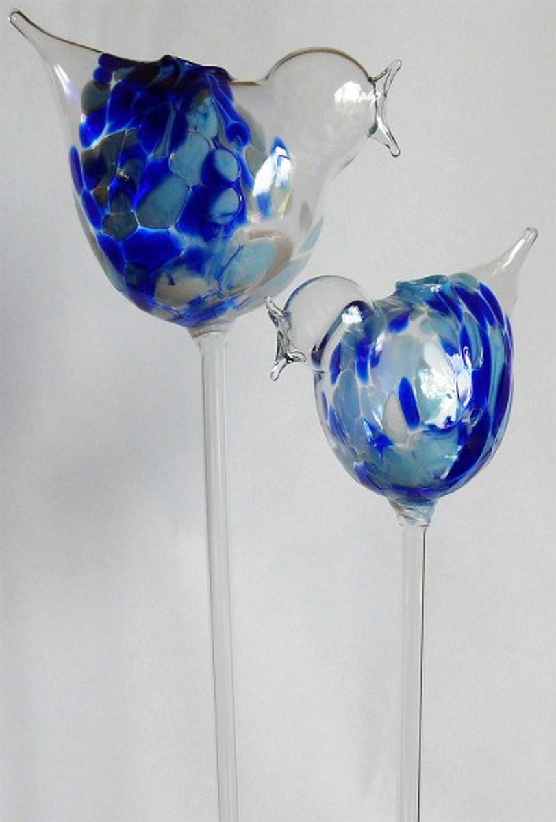 2 Durstkugeln Durstkugel Bewässerungskugeln Vögel Blau Durstkugeln