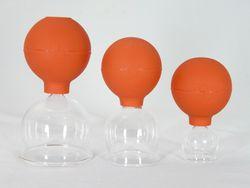 Schröpfglas Schröpfgläser 3 im SET 25 45 65 mm Schröpfset mit Saugball