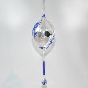 Lichtmühle Solar Radiometer Olive handbemalt mit Schmetterling 80mm Blau