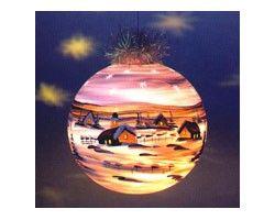 Elektrisch Beleuchtete Christbaumkugel Weihnachtskugeln 19 cm von Hand bemalt Apricot