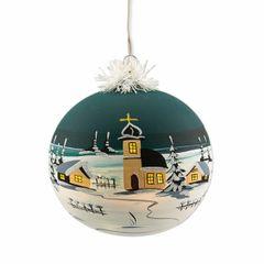 Elektrisch Beleuchtete Christbaumkugel Weihnachtskugeln 19 cm von Hand bemalt Petrolgruen Bild 2