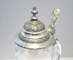 Bierkrug Bierseidel  Bierhumpen Kristall Gravur Hirsch mit Reliefdekor Bild 3