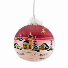 Elektrisch Beleuchtete Christbaumkugel Weihnachtskugeln 19 cm von Hand bemalt Rot Bild 2