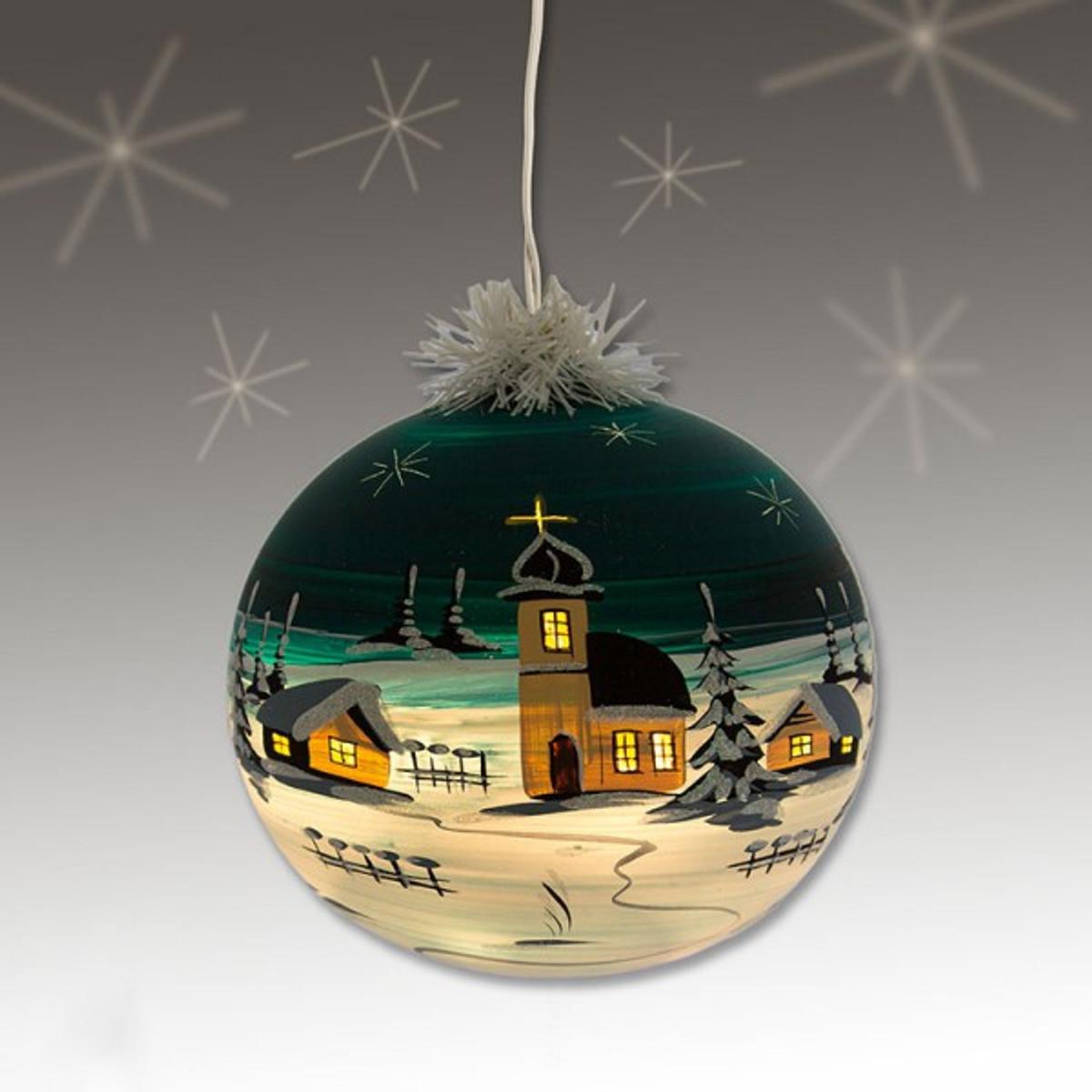 elektrisch beleuchtete christbaumkugel weihnachtskugeln 15 cm von hand bemalt gr n weihnachtsschmuck. Black Bedroom Furniture Sets. Home Design Ideas