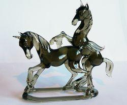 Glasfigur Pferdegruppe Rauch Glasdeko Glasfiguren