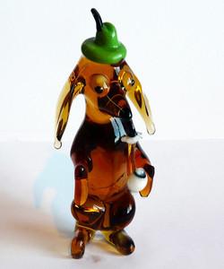 Glastier Dackel mit Pfeife Glasfigur