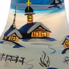 Elektrisch Beleuchtete Glocke Christbaumkugel Weihnachtskugeln 18 cm von Hand bemalt Bild 2