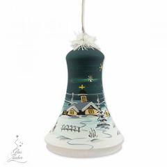 Elektrisch Beleuchtete Glocke Christbaumkugel Weihnachtskugeln 18 cm von Hand bemalt Bild 9