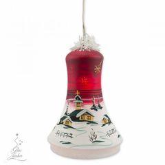 Elektrisch Beleuchtete Glocke Christbaumkugel Weihnachtskugeln 18 cm von Hand bemalt Bild 4