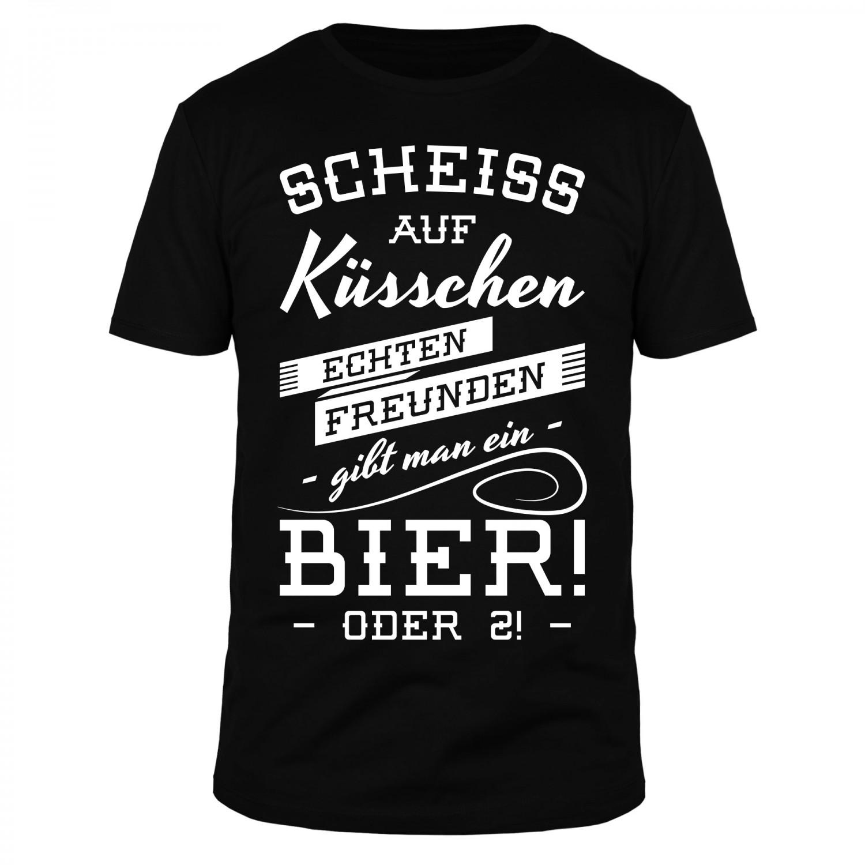 Scheiss auf Küsschen echten Freunden gibt man ein Bier - Männer T-Shirt