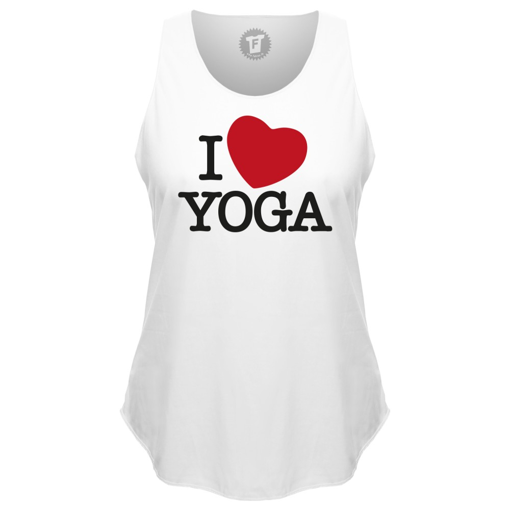 I Love Yoga - Loose Tank Top runder Bund