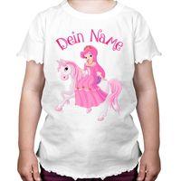Prinzessin auf dem Pferd Mädchen Kinder T-Shirt mit persönlichen Wunschnamen