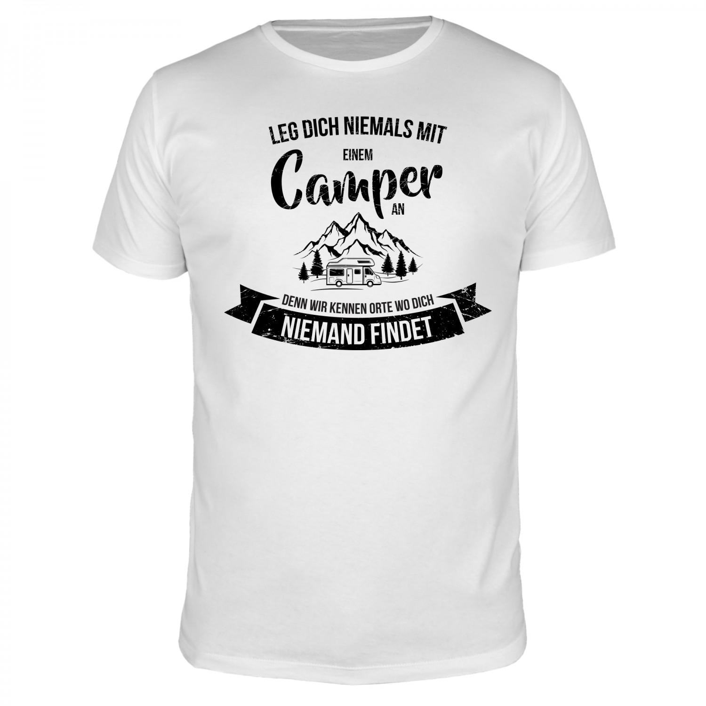 Leg dich niemals mit einem Camper an - Männer T-Shirt