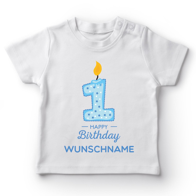 Happy Birthday Wunschname Jungen - Baby T-Shirt