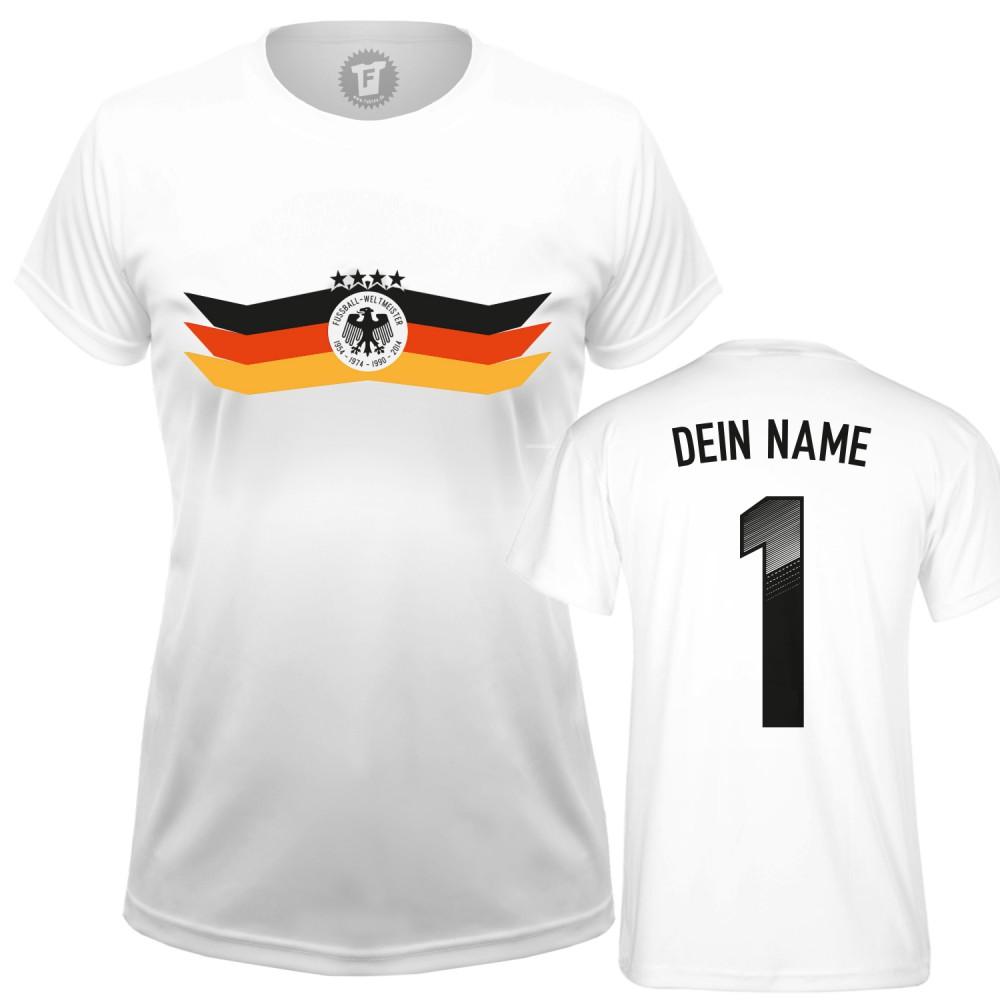 WM Fussball Fanshirt mit Wunschname und Nummer - Frauen T-Shirt