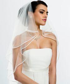 Brautschleier Länge 90 / 70 cm; zweistufig