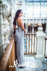 ELIZA & ETHAN Brautjungfernkleid lang - Silver 001
