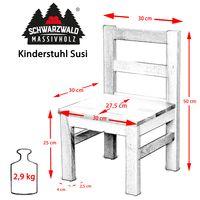 2-er Set Schwarzwald Massivholz Kinderstuhl SUSI Kernbuche, 30 x 30 x 50 cm, natur bio geölt 002