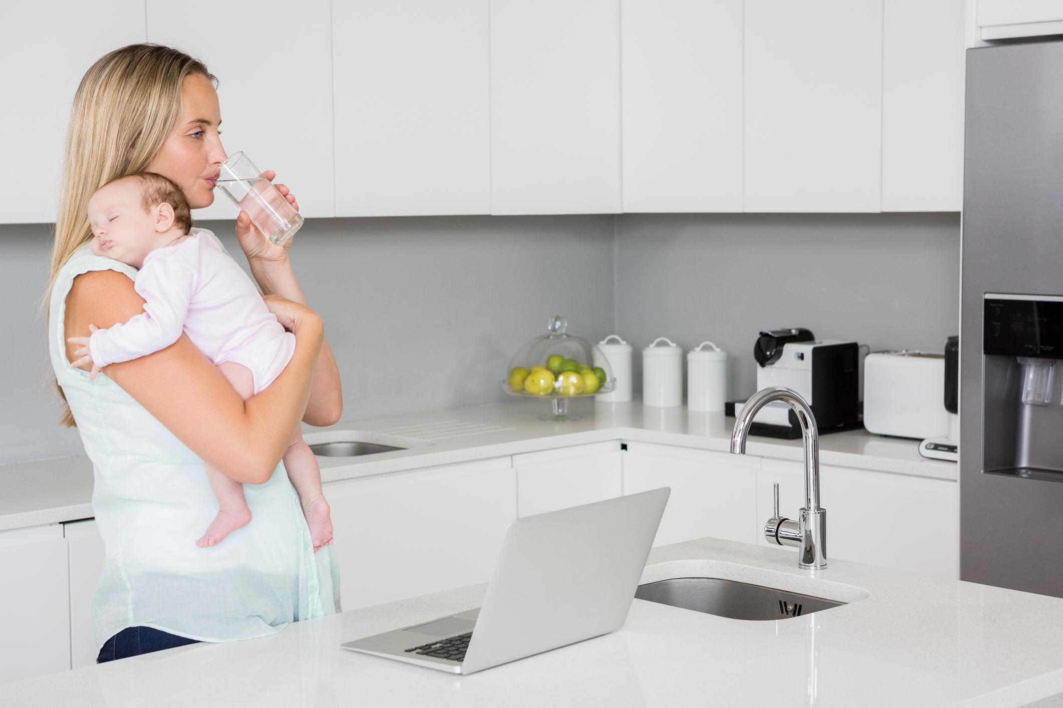 Premium drinking water filter under the sink in the kitchen