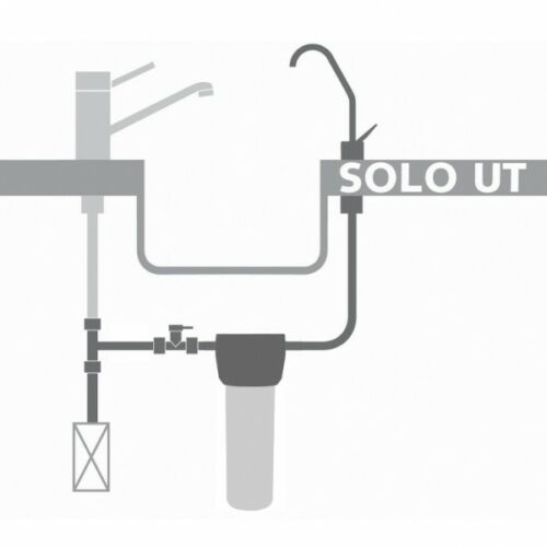 Under-sink water filter housing with separate tap