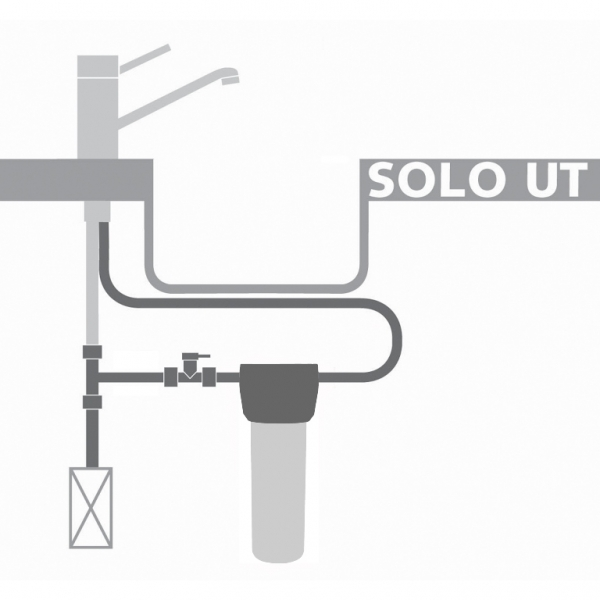 Under-sink water filter with existing tap