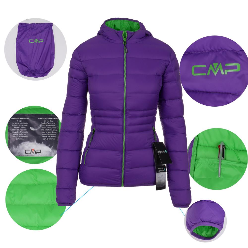 buy online 71448 3e14d CMP Damen Daunenjacke Outdoor Isolationsjacke warm mit Kapuze atmungsaktiv  mit Beutel Piuma