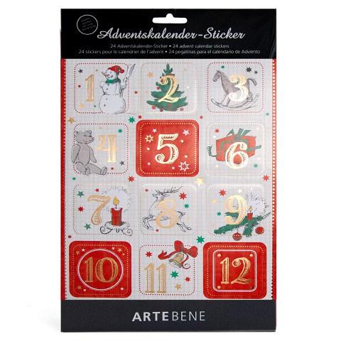 adventskalender sticker zahlen 1 24 eckig von artebene. Black Bedroom Furniture Sets. Home Design Ideas