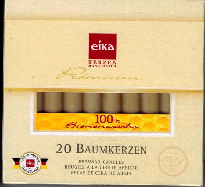 Baumkerzen 20er Pack (10,5 x 1,25 cm ) in 100% Bienenwachs von Eika