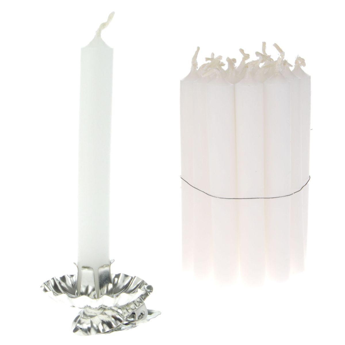 Kerzenhalter rund Weiß//Silber Ø 12 cm für Kommunionskerzen Taufkerzen,Hochzeit