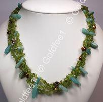 3-reihige Kette aus Peridot, Amazonit & Perlen
