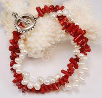 Süsswasser Zucht-Perlen - Korallen Armband