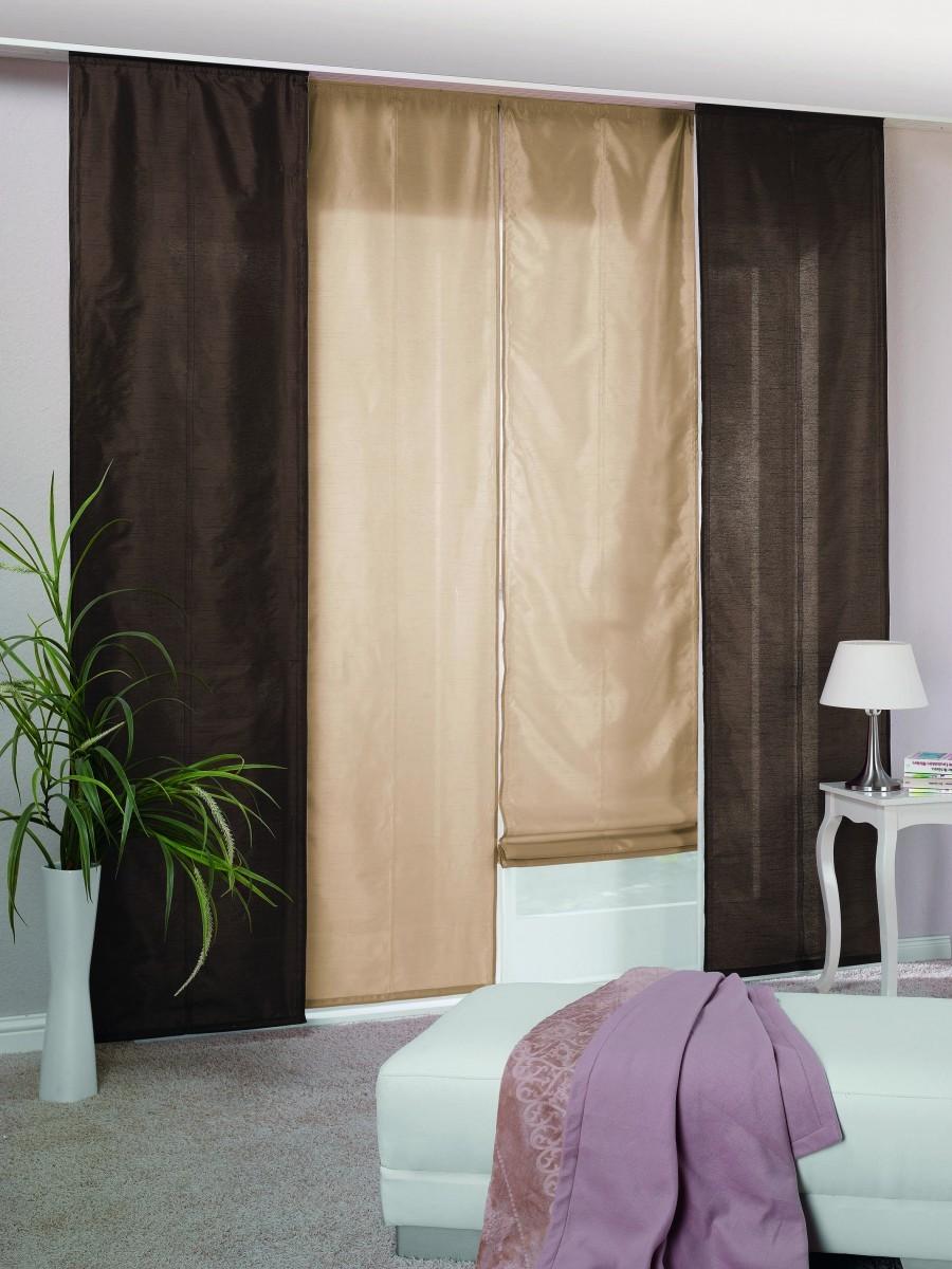 schiebepanel raffrollo twin in weiss sch ner wohnen gardinen stoffe store s fl chenvorhang. Black Bedroom Furniture Sets. Home Design Ideas