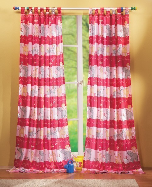 Kinderzimmer gardine schlaufenschal set tier motiv blau for Schlaufenschal kinder