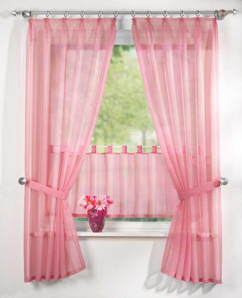 5tlg gardinen set uni transparent in rosa sch ner wohnen gardinen stoffe store s gardinen sets. Black Bedroom Furniture Sets. Home Design Ideas