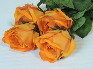 4er Set Künstliche Rose halboffen Kunstblume in gelb orange 78 cm – Bild 1